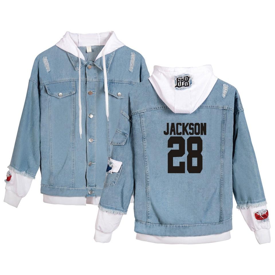 GOT7 Jeans Hoodies Young People New Sale Autumn Winter Fashion GOT7 Denim Jean Wear Men/women Popular Hoody Stitching Jacket