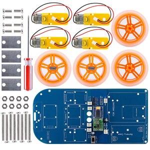 Image 3 - 4WD عصا تحكم لاسلكية التحكم عن بعد المطاط عجلة موتور تروس عدة السيارة الذكية مع البرنامج التعليمي لاردوينو UNO R3 نانو Mega2560