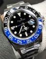 Reloj mecánico automático de marca de lujo para hombre, bisel de cerámica Rojo Negro Azul GMT Master II, zafiro de acero inoxidable, luminoso