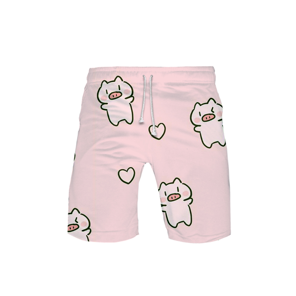 Women's 3D Kawaii Pig Templar 3D Board Shorts Trunks 2019 Summer Quick Dry Kawaii Pig Shorts Women Hip Hop Short Pants