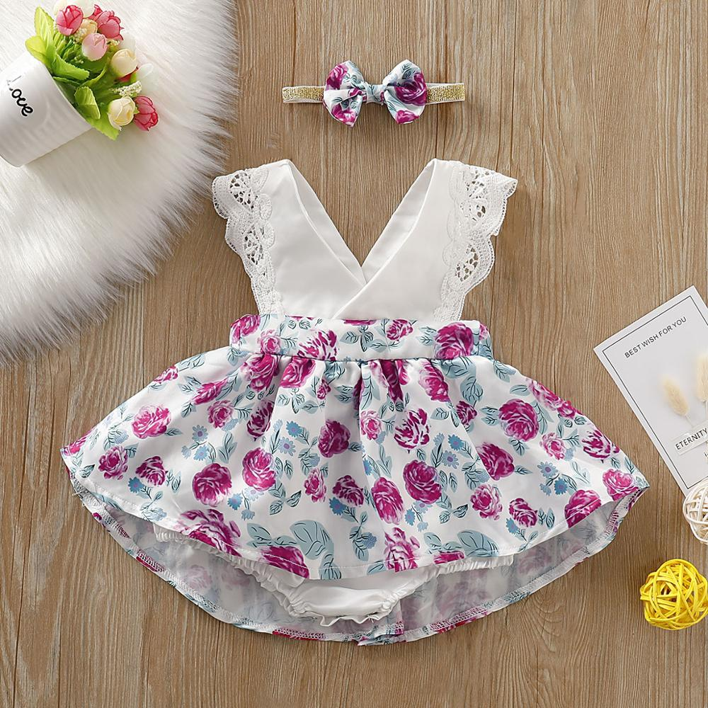 PatPat 2020 New Summer Baby Toddler Girl's Lace Decor Floral Allover Sleeveless Dresses With Bow Headband Baby Clothes
