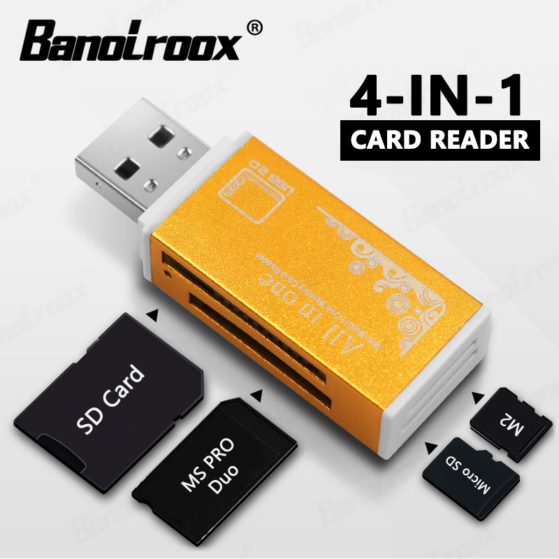 Nowe kolorowe 4 w 1 karty pamięci czytnik kart dla pendrive Pro Duo Micro SD/T-Flash/M2/MS karta pamięci usb flash czytnik adapter sd
