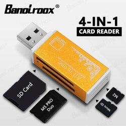 Novo colorido 4 em 1 memória-leitor de cartão para vara de memória pro duo micro sd/t-flash/m2/ms flash usb leitor de cartão de memória sd adaptador
