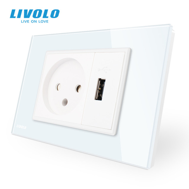 Livolo Power Socket with Usb Charger , White/Black Crystal Glass Panel, AC 250V16A  Wall Power Socket , VL C9C1IL1U 11/12