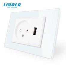 Livolo розетка с Usb зарядным устройством, белая/черная стеклянная панель, AC 250V16A настенная розетка, VL C9C1IL1U 11/12