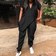 S 5XL 2021 yaz moda katı Harem tulum ZANZEA kadınlar kısa kollu tulumlar uzun tulum kadın tulum Pantalon pantolon