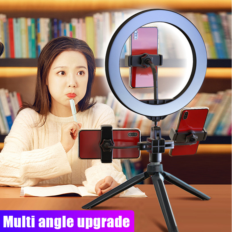 10 Inch LED Ring Light Lamp Selfie Camera Phone Studio Tripod Stand Dimmable Adjustable Angle DJA88