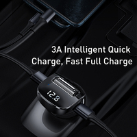 Baseus Car Charger for Mobile Phone FM Transmitter Aux Modulator Bluetooth 5.0 Handsfree Audio MP3 Player Dual USB Car Charger