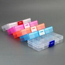 Caja de almacenamiento portátil de 10 ranuras de colores para herramientas de joyería, contenedor de anillo, piezas electrónicas, organizador de cuentas con rosca, caja de plástico