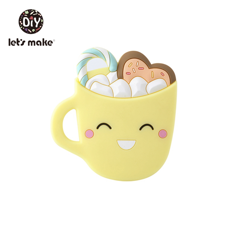 Let's Make 5pc Patented Baby Teethers Smiley Coffee Cup Bpa Free Silicone Pendant Teething Toy Pacifier Chain Silicone Teether
