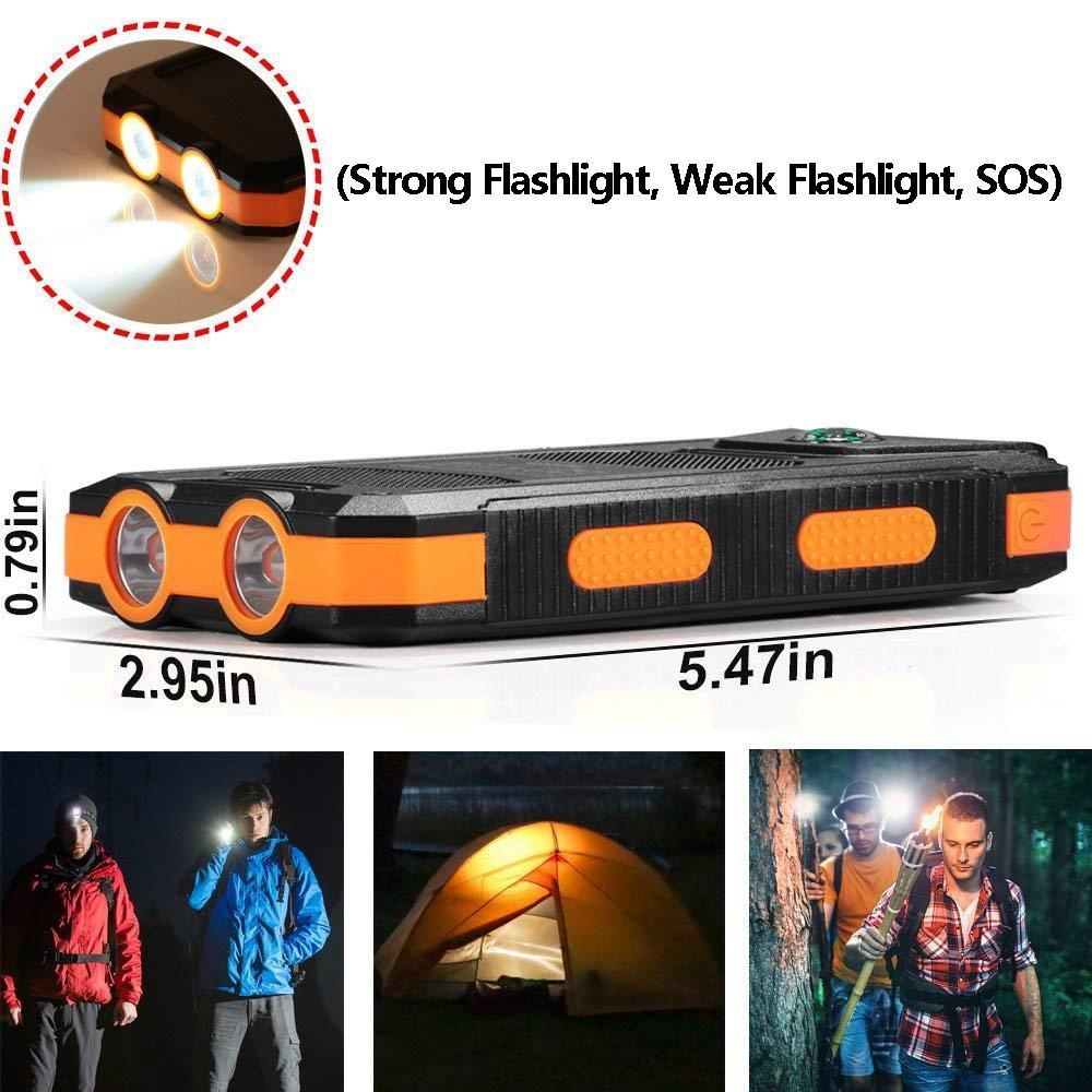 20000mAh High-Capacity Solar Power Bank with Polycrystalline Solar Panel and Dual LED Light 4