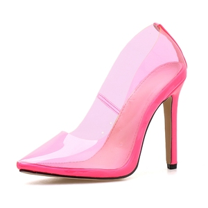 Image 4 - DiJiGirls zapatos mujer Casual 2020 Amarillo Neón sandalias Rojas PVC desnudo tacones delgados puntiagudos Pvc zapatos de moda Jeelly