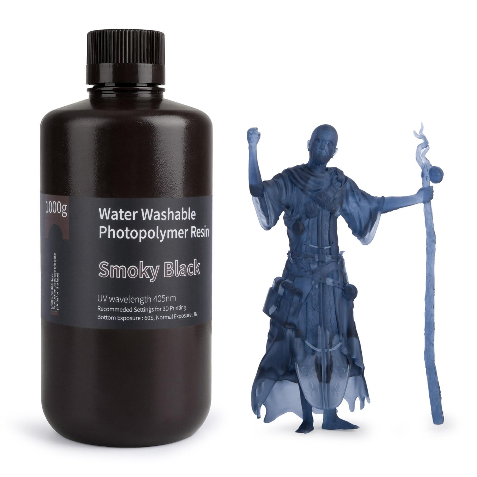 ELEGOO воды моющаяся Резина 3D-принтеры смолы 405nm УФ Смола Стандартный фотополимерные смолы для ЖК-дисплей 3D-принтеры дымчато-черный 1000 мл