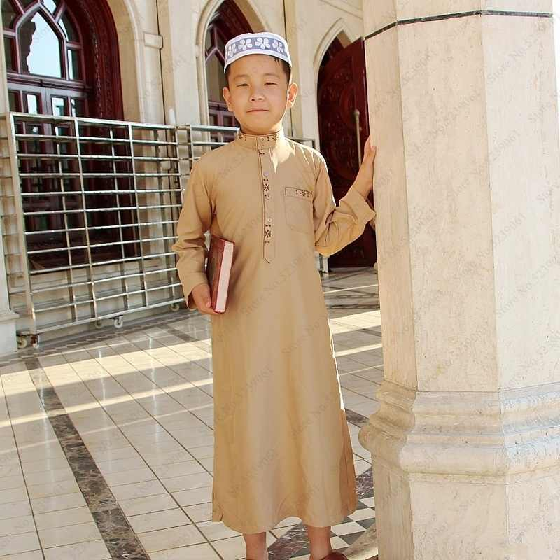Kids Jubba Thobe Muslim Robe Long Dress Islamic Clothing Kaftan Arab Abaya Eid Prayer Children Robes Boy Gown Arab Kurta Clothes