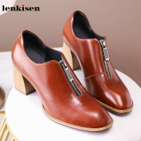 Lenkisen new genuine leather simple style pupms round toe high heels fashion basic solid front zipper autumn women shoes L2f2