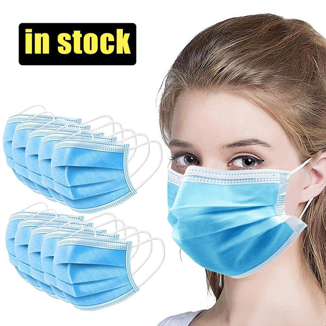 Fast Delivery 50pcs Black Mouth Mask 3-Layers Anti-fog Dust Face Masks Fabric Dustproof Cotton Disposable Non-woven Mouth Cover 1