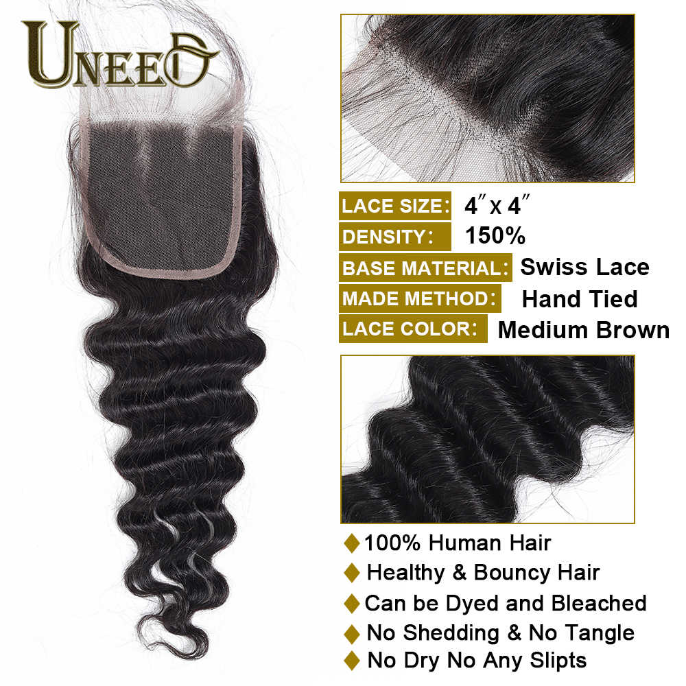 Uneed Hair Peruvian Deep Wave 3/4 Bundles With Closure Human Hair Bundles With Lace Closure Remy Hair Weave Extensions 1b Color