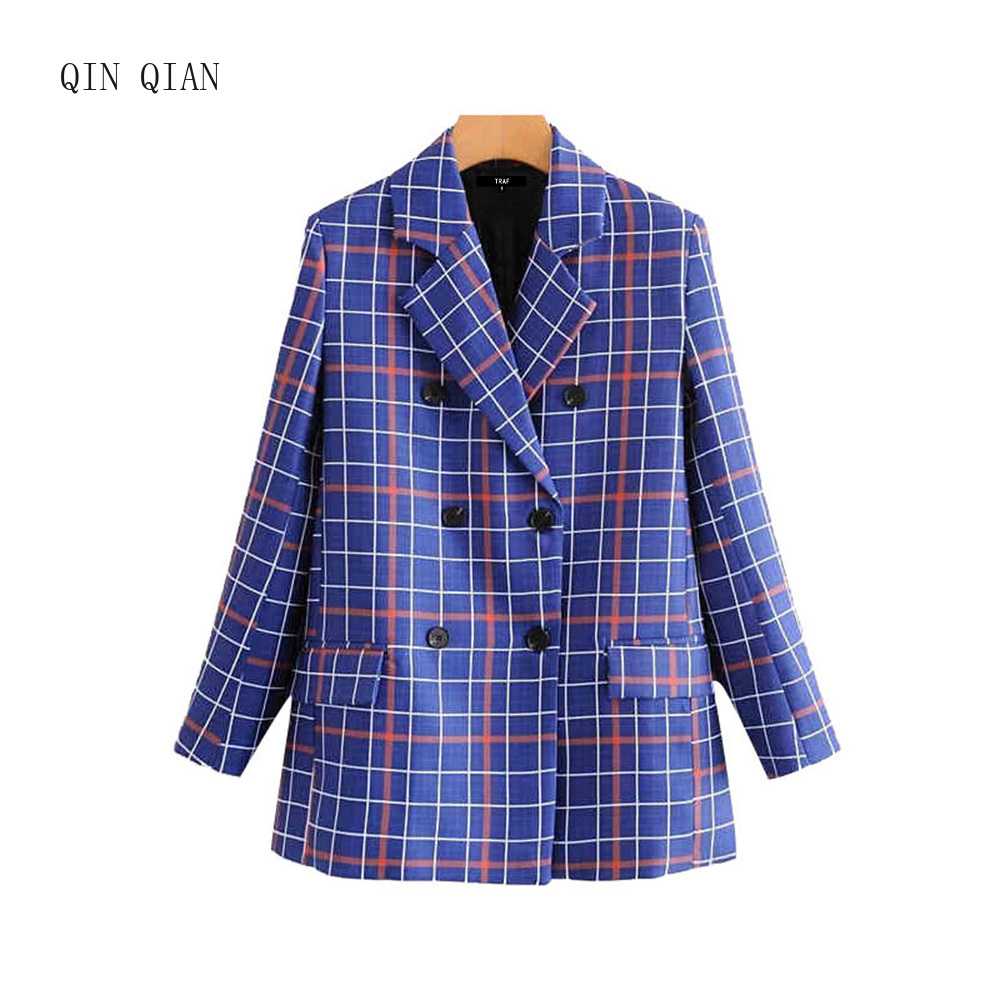 Women Vintage Stylish Double Breasted Plaid Blazer Coat Fashion Long Sleeve Pockets Office Wear Female Outerwear Chic Tops