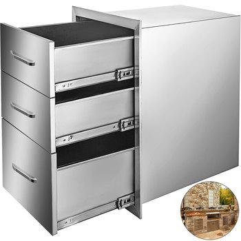 VEVOR wysuwana szuflada szuflada schowek ze stali nierdzewnej z chromowanym uchwytem i podwójną szufladą na dostęp do kuchni na zewnątrz tanie i dobre opinie CN (pochodzenie) Odpadów żywności usuwający części Food-grade Stainless Steel Triple 18 x 23 x 23 Inches (W x H x D)