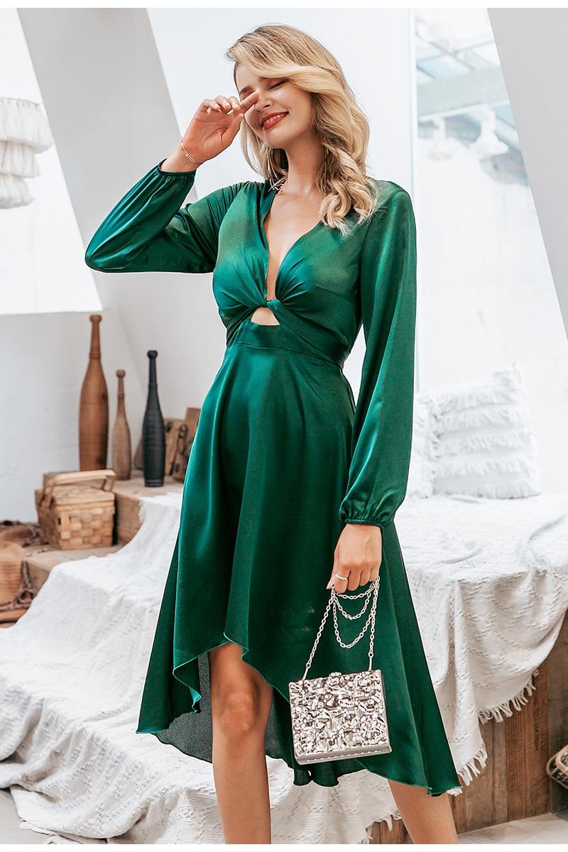 Simplee Sexy v-neck women party dress Elegant high waist lantern satin dress Office lady chic a-line autumn winter green dress 2