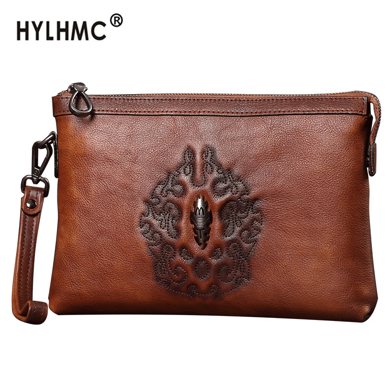Leather clutch bag cowhide men's handbag genuine men phone bag business large-capacity envelope bag embossed casual small bag