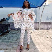 African Dashiki New Fashion Suit  Top And Trousers Super Elastic Party Plus Size For Lady Dresses