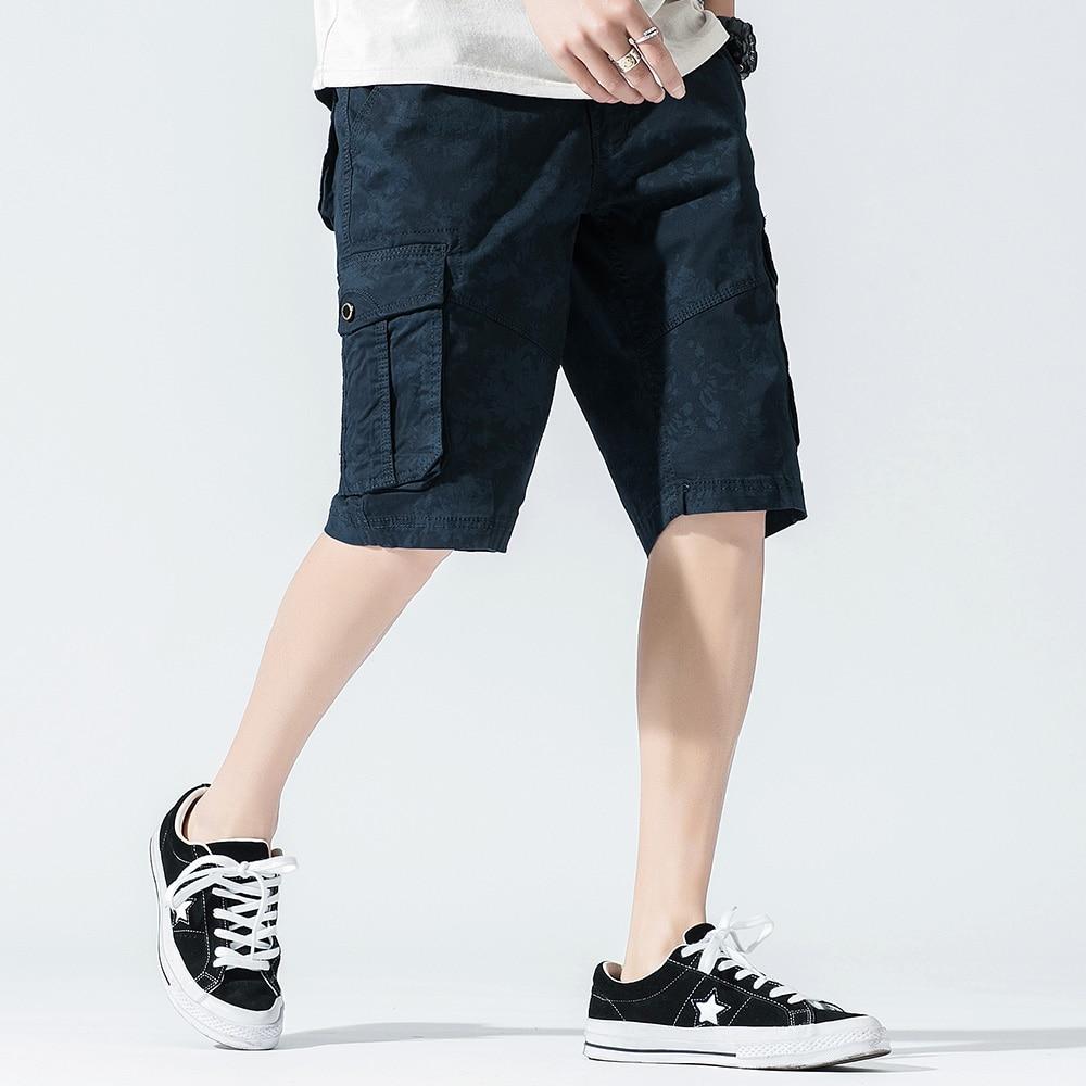 Mens Casual Shorts Cotton Cargo Men Sweatpants Summer Casual Mens Shorts Jogger Streetwear Straight Knee Length Big Pockets 4X