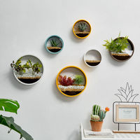 Jarrón para colgar en la pared decoración nórdica para el hogar, maceta redonda, contenedor de flores, peces hidropónicos multifuncionales, decoración de pared