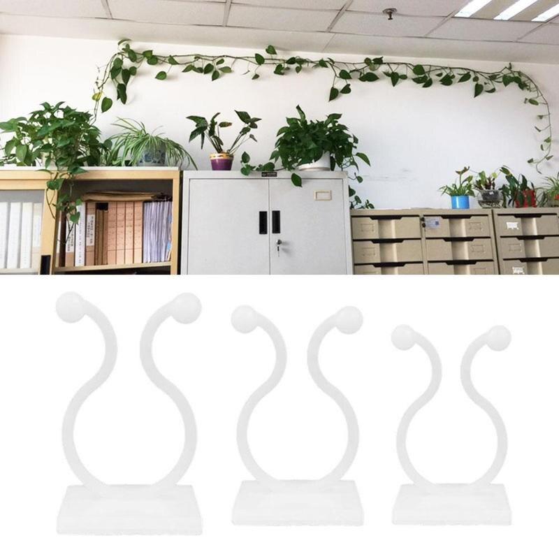 10Pcs/set  Invisible Wall Vines Fixture Climbing Vine Plant Fixer Paste No Trace Sticky Hook For Home Balcony Garden Decor Hooks