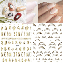 new 1 Sheet White gary Gradient Marble Nail Art Stickers France shape for Nails Sticker Decorations Manicure Z0212