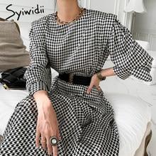 Syiwidii pied de poule Satin femme robe avec ceinture 2021 printemps été Streetwear Empire col rond élégant dames longues robes