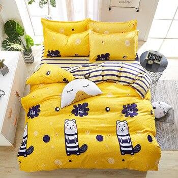 BBSET Cartoon Print Home Textiles 4PCS Bedding Set Bedclothes Include Duvet Cover Bed Sheet Pillowcase Bedding Sets Bed Linen