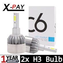 2PCS H3 LED Headlight Bulbs Kit C6 Series 30W 4000LM 6000K Cool White Lamp LED Conversion Kits Super Bright with COB LED CHIPS цена