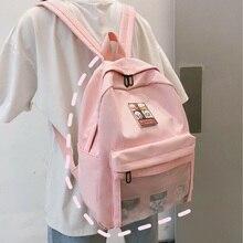 Fashion Label Clear Women Backpack Casual Nylon Waterproof Cartoon Teen Girls Cute Schoolbags Simple Lady Travel