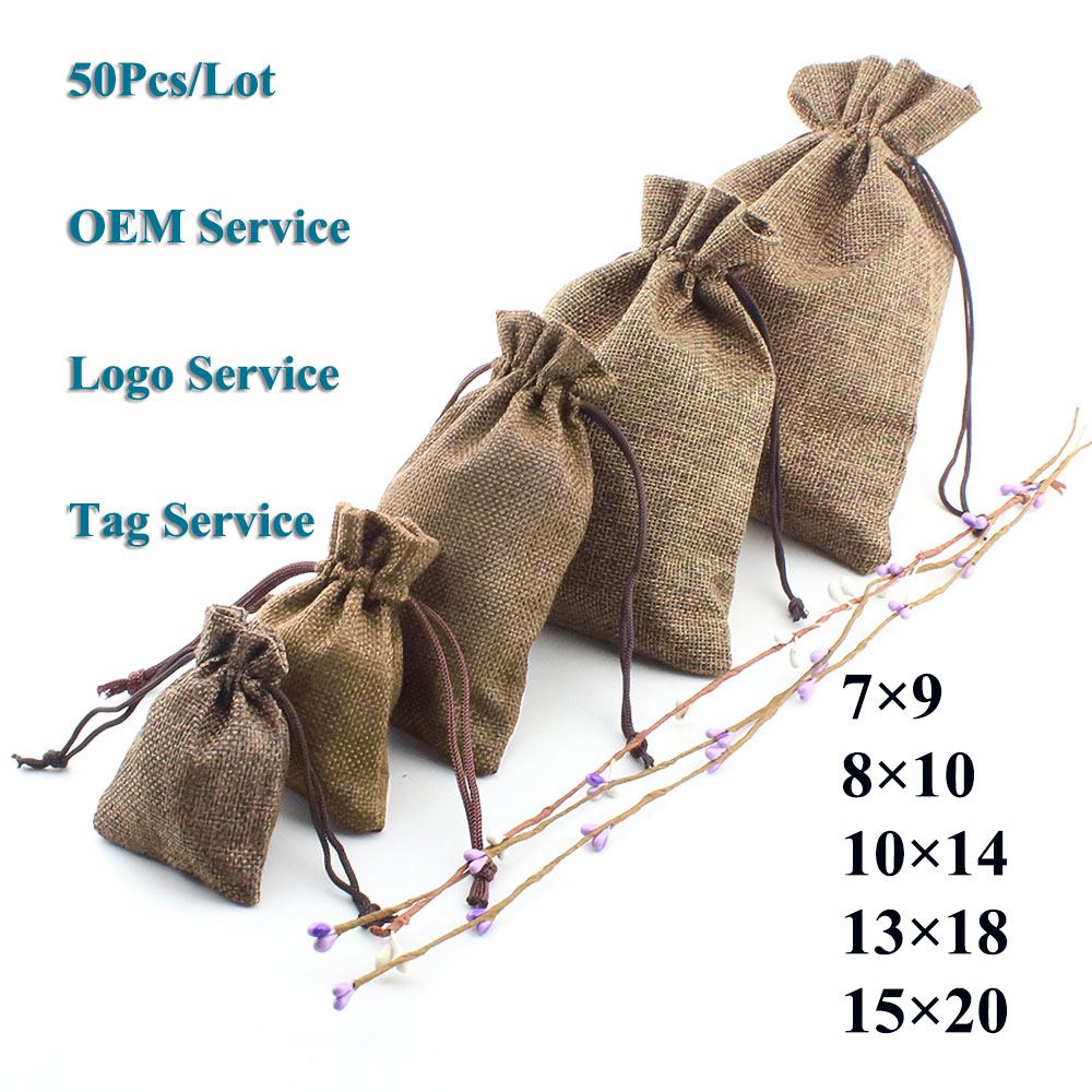 Eco Drawstring Wedding Candy Cookie Pouch 50Pcs/Lot Lip Gloss Make Up Tools Gift Bag Natural Burlap Can Customized Logo