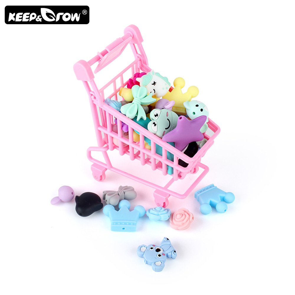 Keep&Grow 3pcs/lot Cartoon Silicone Beads Mini Owl Koala Baby Teething Beads Food Grade Silicone Teethers Toys Accessories