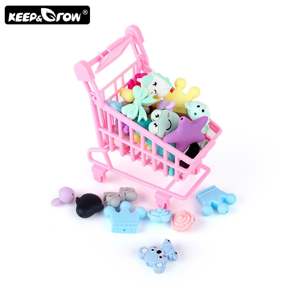 Keep&Grow 3pcs/lot Cartoon Silicone Beads Mini Owl Koala Baby Teething Beads Food Grade Silicone Teethers Toys Accessories