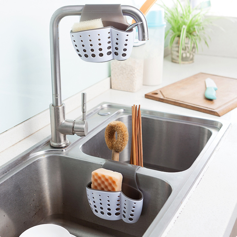 1pc Sponge Holder Bathroom Soap Holder For Kitchen Organization Plastic Storage Baskets (White)