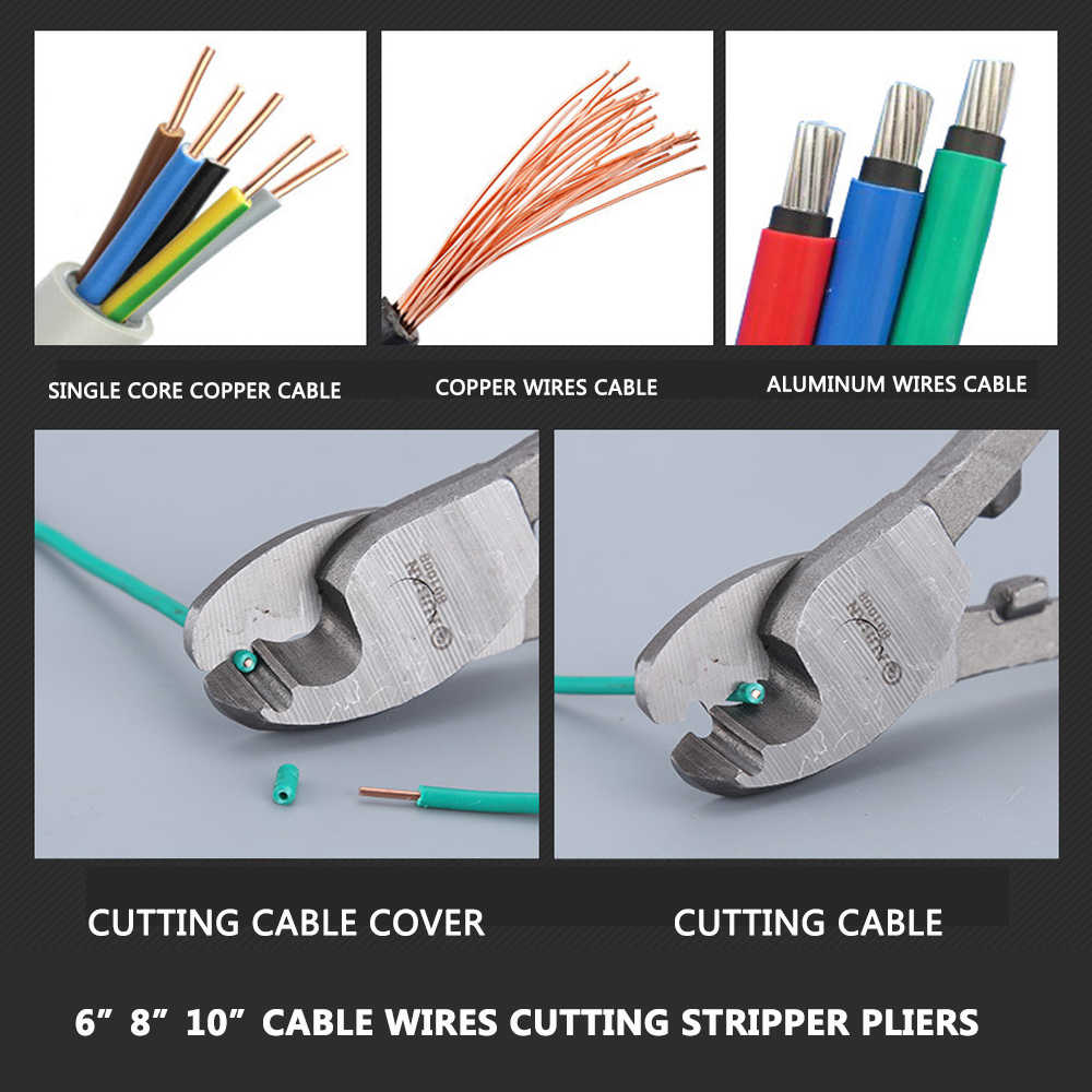 """와이어 커터 스트리퍼 플라이어 전기 와이어 케이블 커팅 새로운 핸드 툴 고품질 홈 케이블 컷 도구 6 """"8"""" 10 """"인치 펜치"""