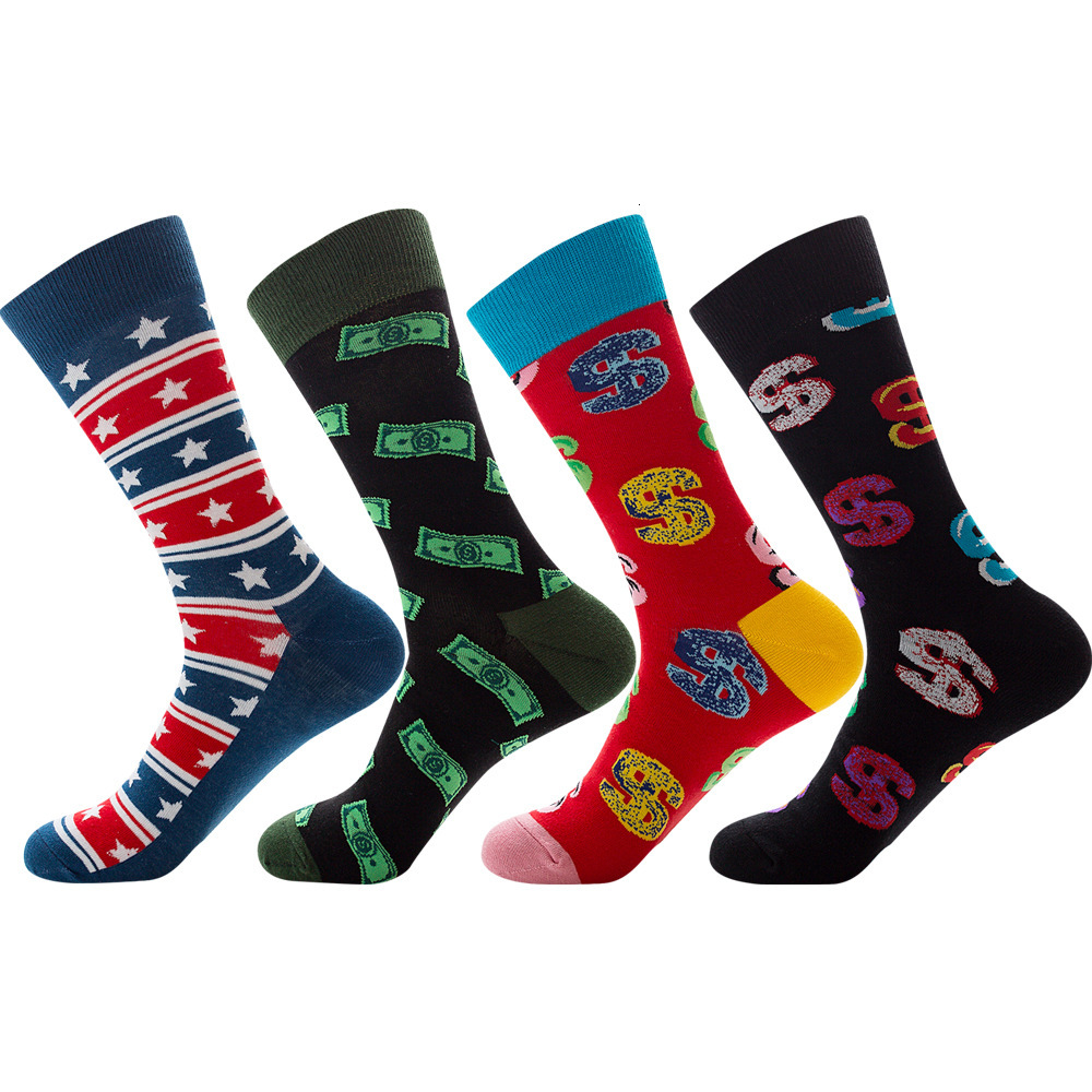 2020 New Novelty Men's Long Socks Harajuku Money Dollar Printed Socks Funny Cartoon Socks Combed Cotton Happy Funny Socks Men