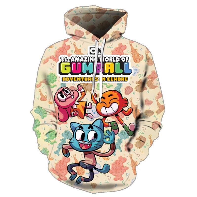 2020 new Gumball amazing world hoodie sweatshirt streetwear man 3D casual head pullover Harajuku hip hop hip hop men and women