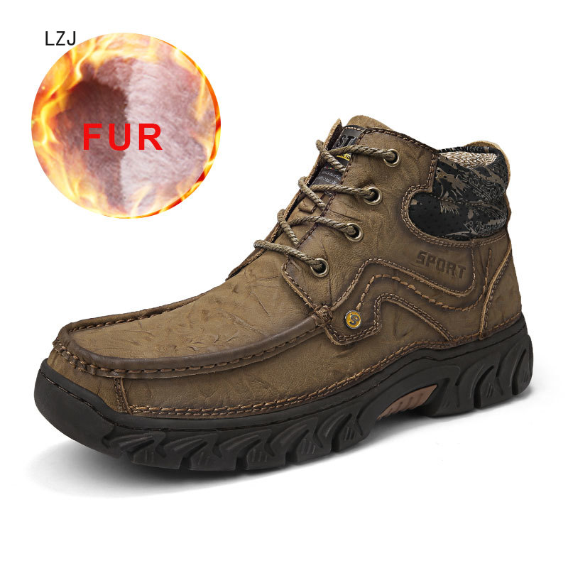 Hot Sale Male Snow Boots Warm Fur Winter Shoes Men Waterproof Footwear Breathable Shoes Casual Slip On Comfortable Fashion 2019 image