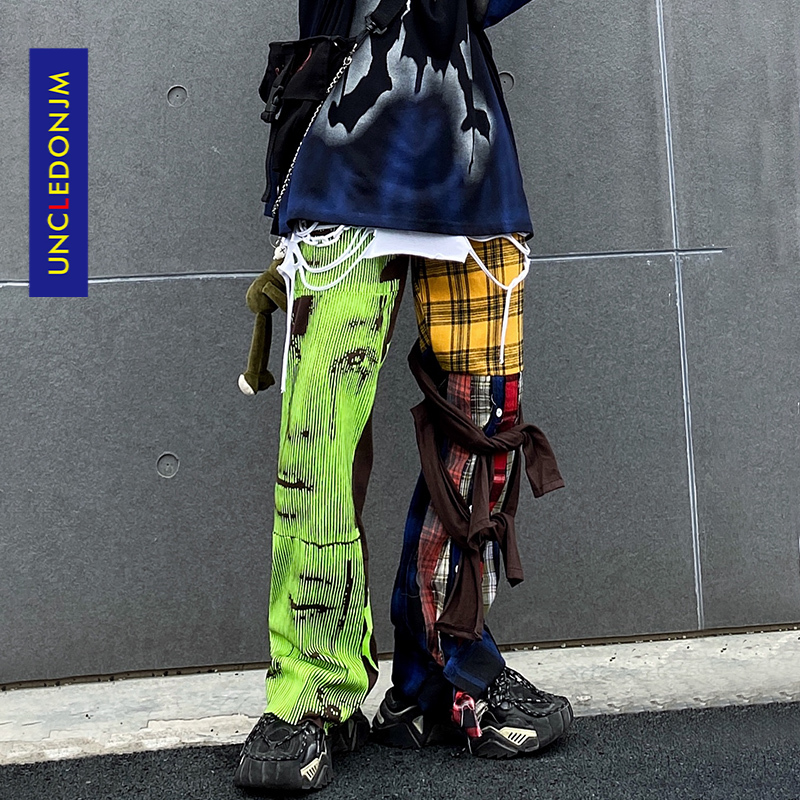 UNCLEDONJM Hip Hop Plaid Pants Men Ins Irregular Casual Pants Patchwork Pants Fashion Streetwear Trousers t2-a002