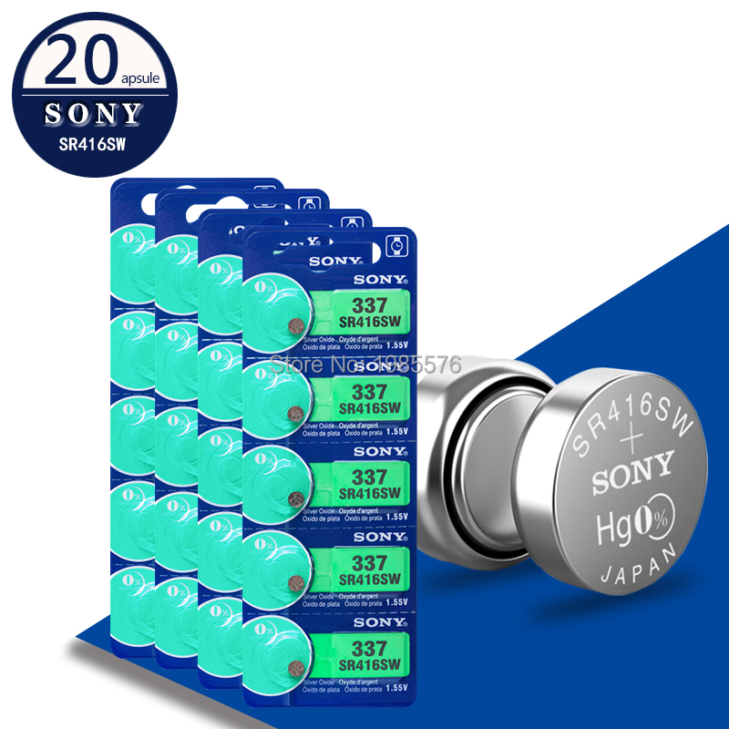 20Pcs/Lot For Sony New LONG LASTING 337 SR416SW 623 D337 V337 SP337 Watch Battery Button Coin Cell For Watch Car Remotes