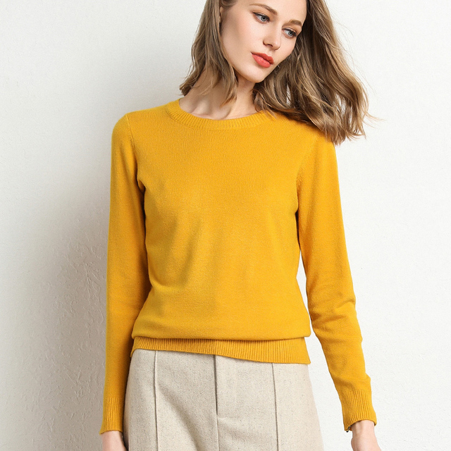 New Women Sweater Autumn Winter Clothes Solid Round Neck Sweater Jumper Long-sleeved Knitted Pullovers Shirt Female Tops