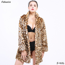 Leopard Faux Fur Coat Women Winter 2019 Plus Size 4XL Long Sleeve Plush Oversized Fluffy Cheetah