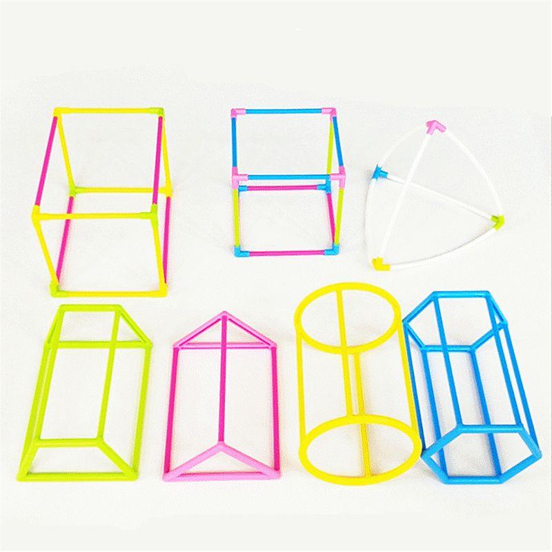 3D Geometric Shape Building Assemble Kit Kids Math Geometry Educational Toy