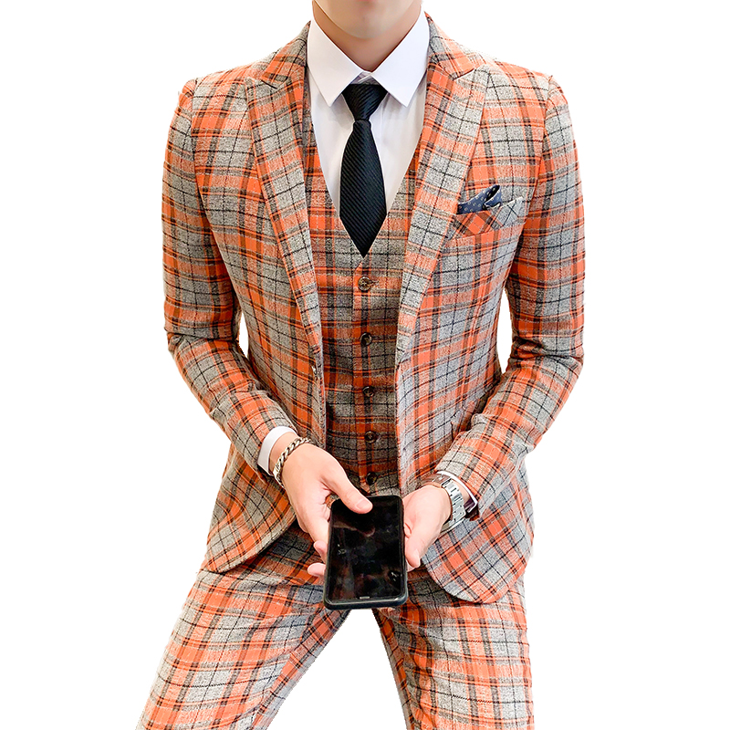 Jackets   Vest   Pants   New Fashion Boutique Plaid Mens Casual Business Suit Groom Wedding Dress Suit 3pces Set Male Blazer