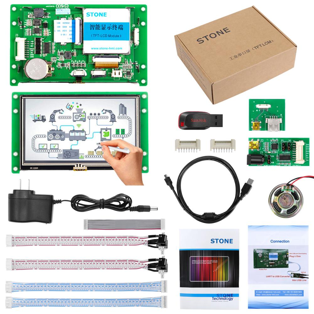 4.3 inch HMI LCD Module Plug and Play Display with Control Board + Program + RS485 RS232 TTL