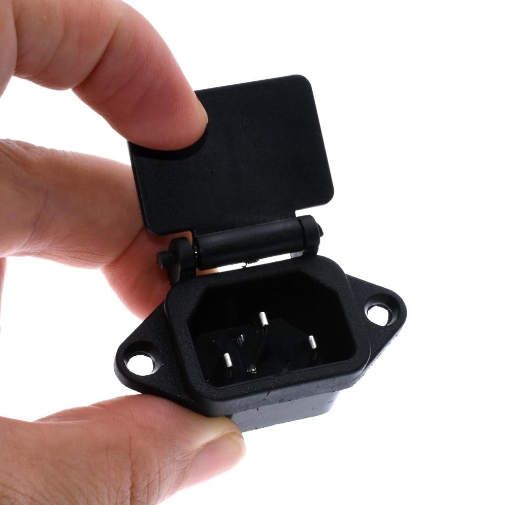 10pcs AC 250V 10A 3-Pin IEC320 C14 Inlet Plug Power Socket Black + Cover